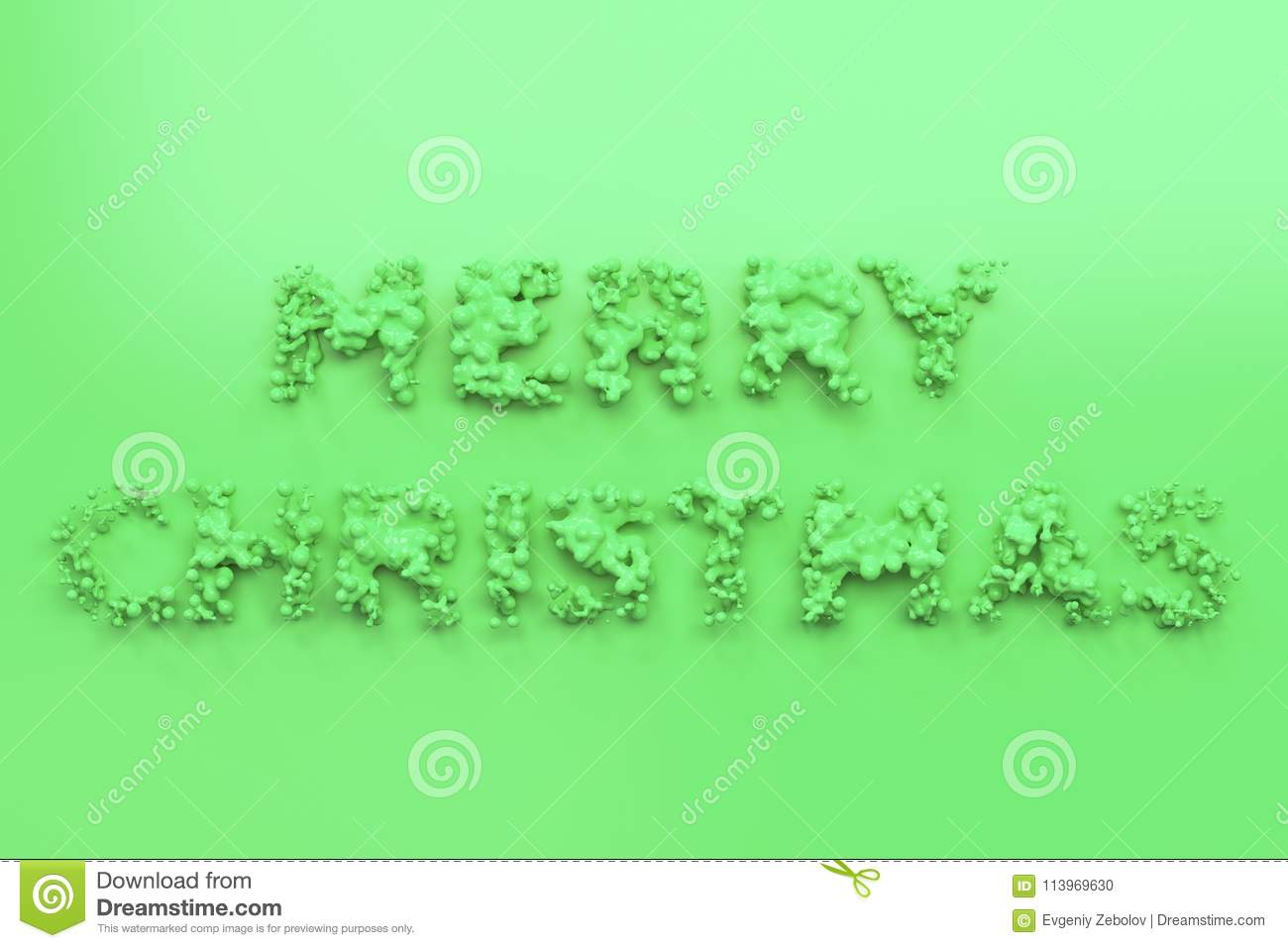liquid green merry christmas words with drops on green background