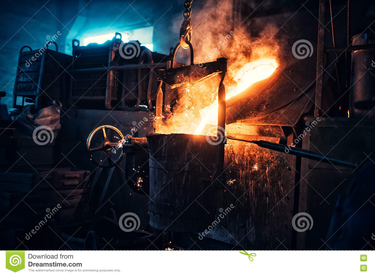 Download Liquid Iron Flowing In Steelworks. Industrial Details Of Metallurgic Factory Or Plant. Details Of Smelting Metal Stock Photo - Image of fire, gold: 71084934