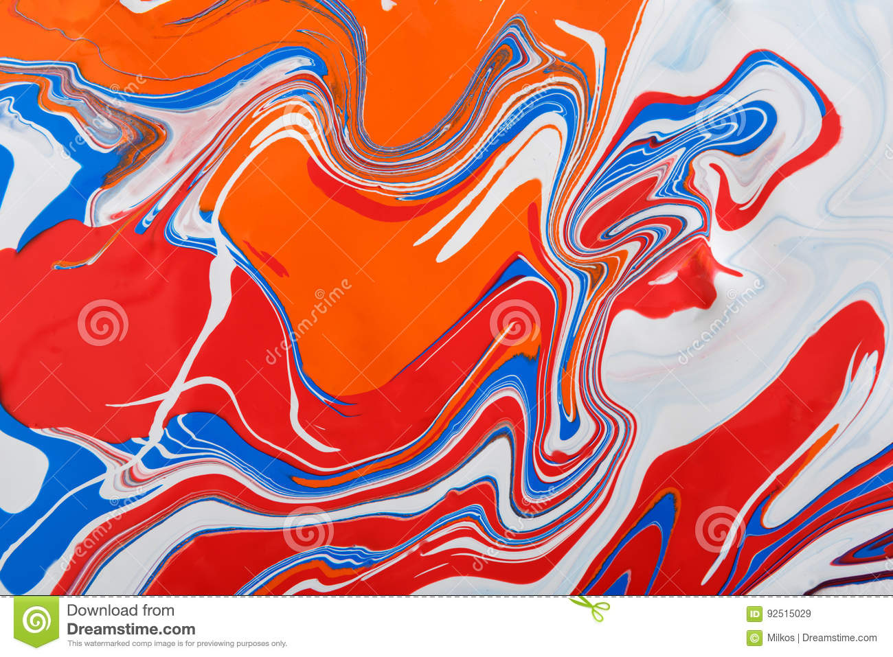 Liquid marbling acrylic paint background. Fluid painting abstract texture