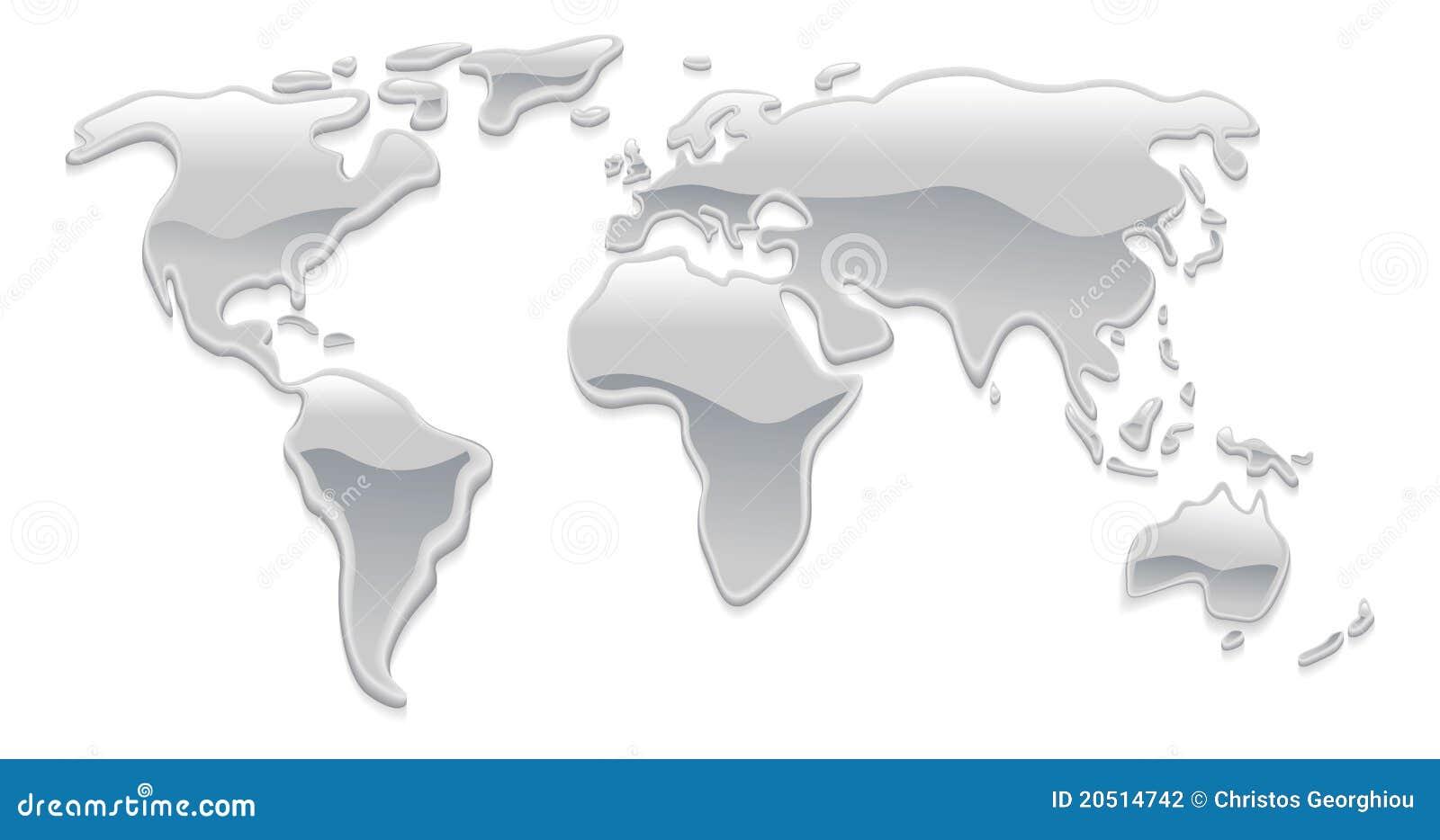 Liquid Metal World Map Stock Photography Image 20514742