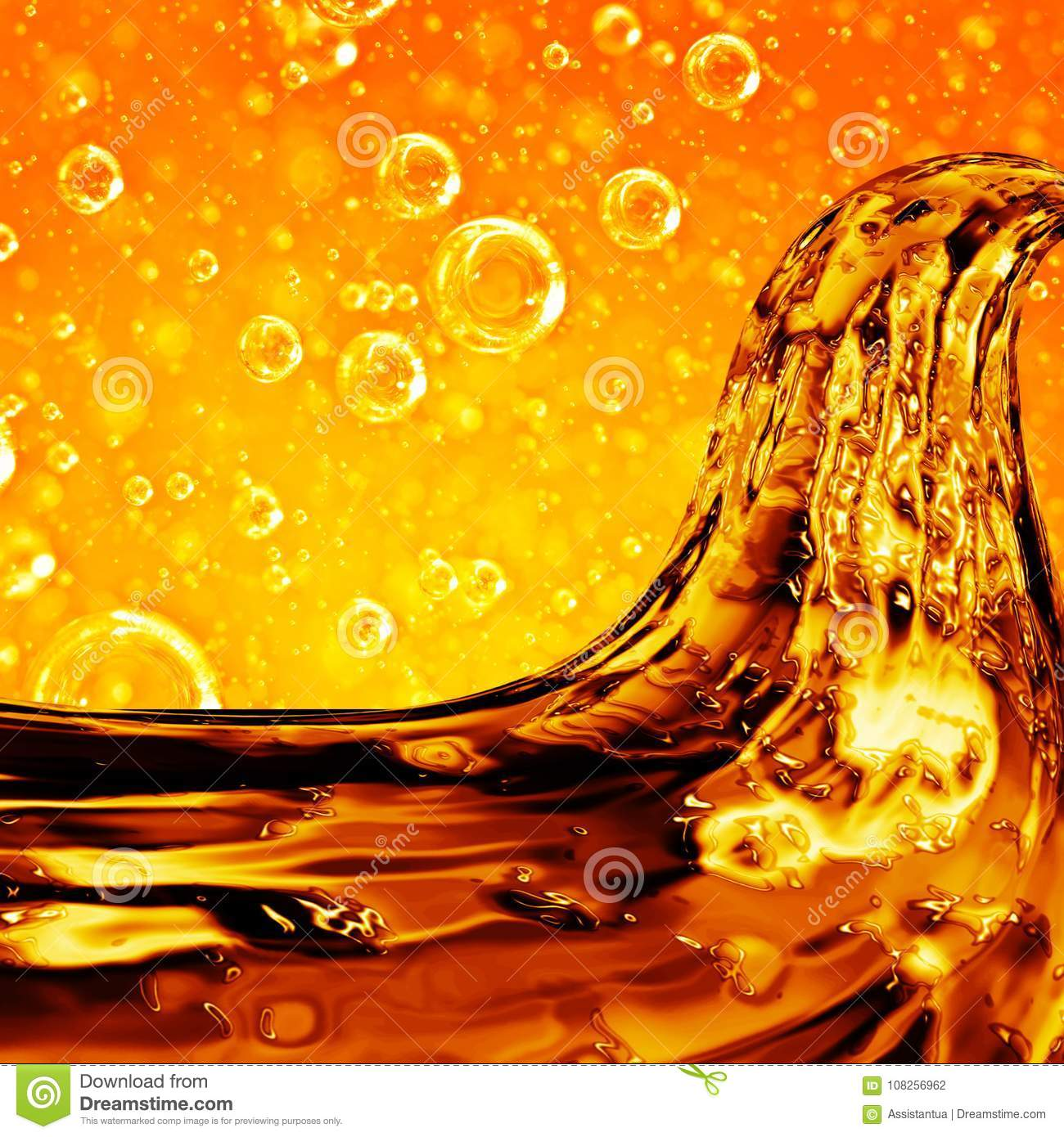 Liquid wave golden, for the project, oil, honey, beer or other v
