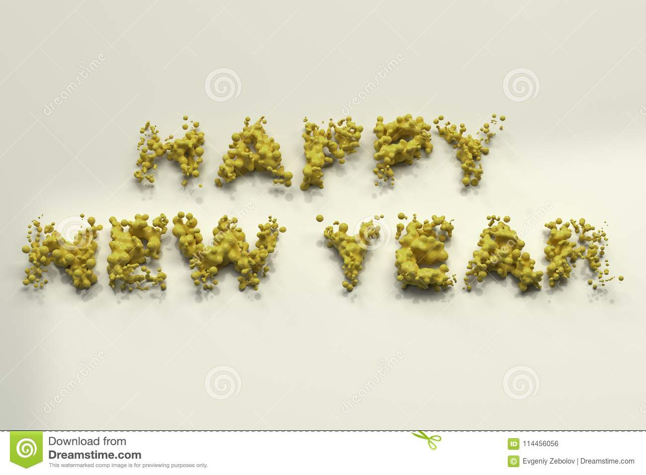 Liquid Yellow Happy New Year Words With Drops On White Background ...