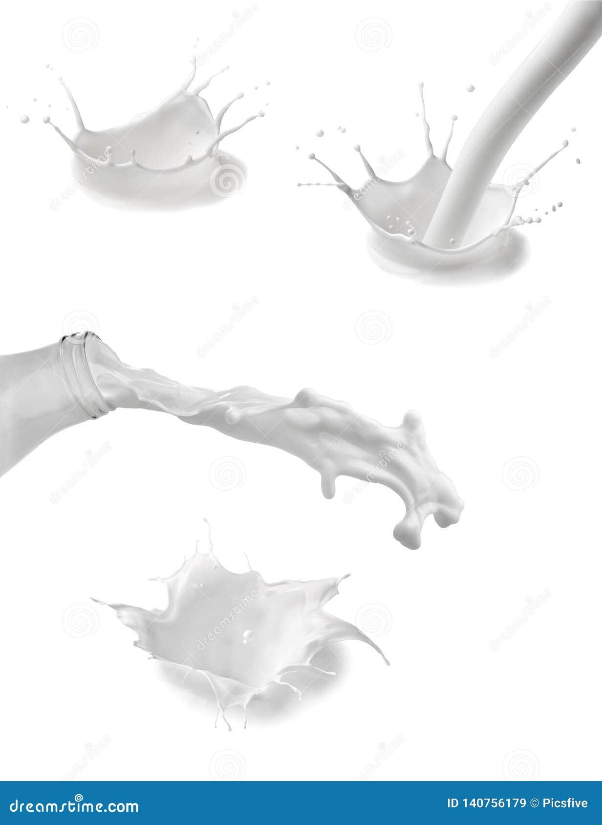 Liquide de blanc de baisse de bouteille d éclaboussure de lait