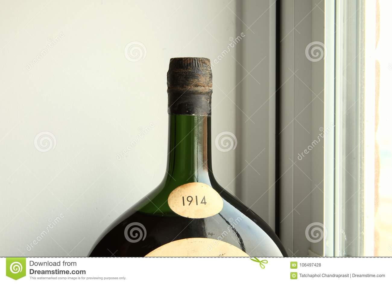Liquor Bottle Green Color Put Beside Window Stock Photo Image Of