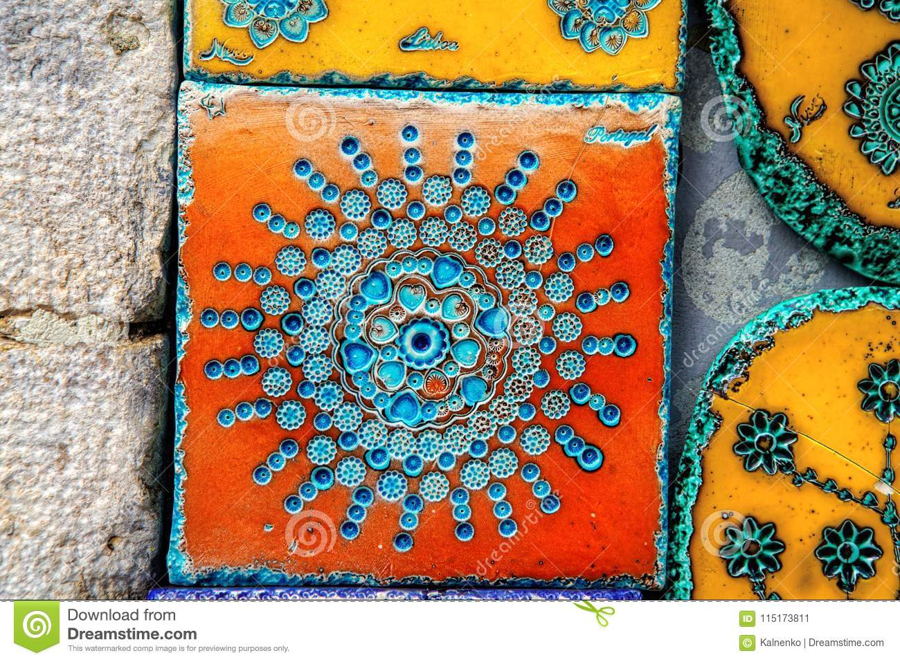 The Portuguese-style Tiles Sold In A Tile Shop. Stock Image - Image ...