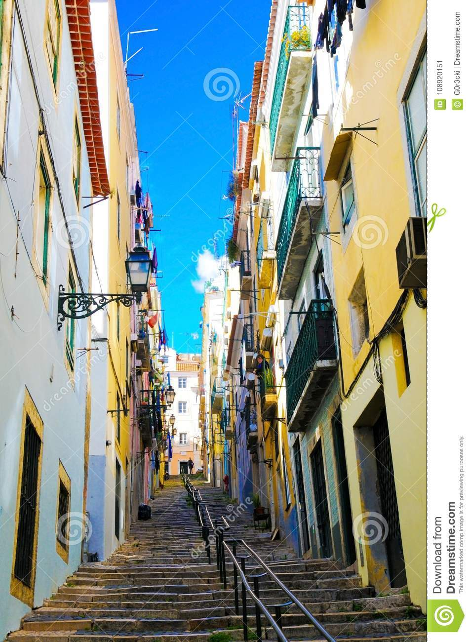 Lisbon Colorful Alley, Travel Portugal, Typical Oldtown