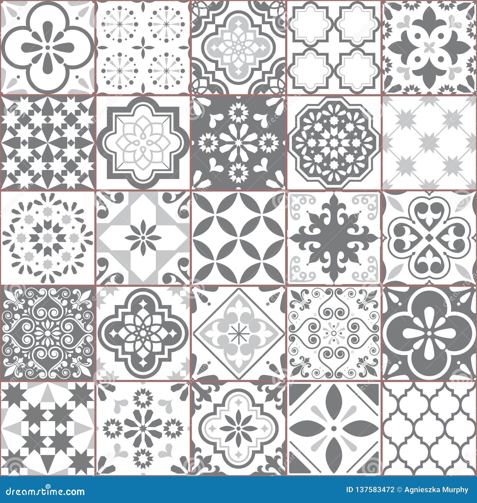 Lisbon Geometric Azulejo Tile Vector Pattern Portuguese Or Spanish