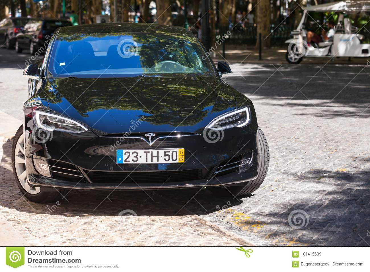 Black Tesla Model S Car Parked In Lisbon Editorial Stock