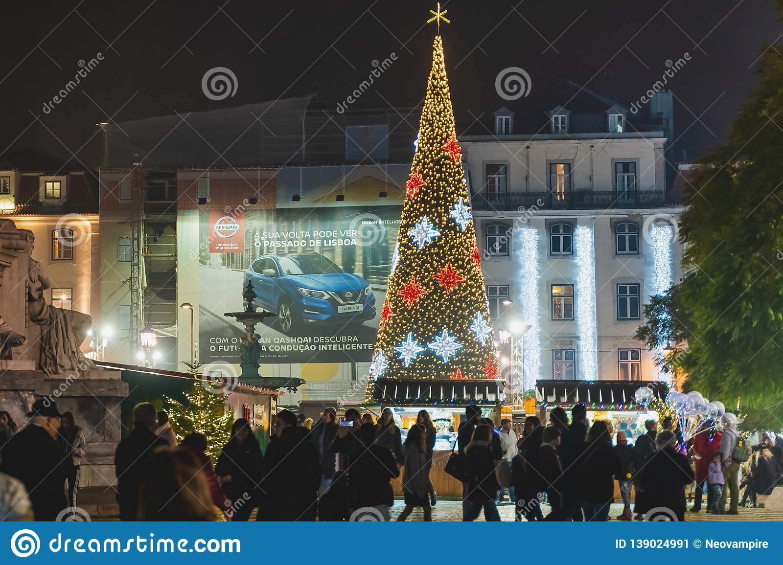 Christmas In Portugal.Lisbon Portugal 12 26 18 Christmas Tree Decorated With