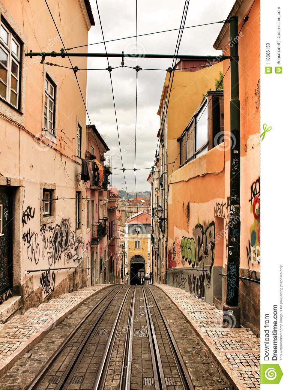 Bica Street And Elevator Rails In Lisbon Editorial Stock Image