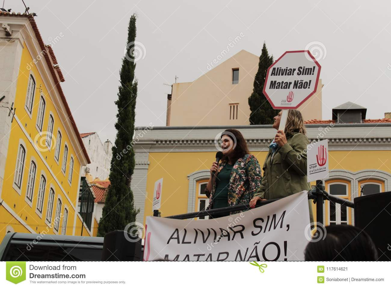 Demonstrators Protesting With Placards Against Euthanasia In
