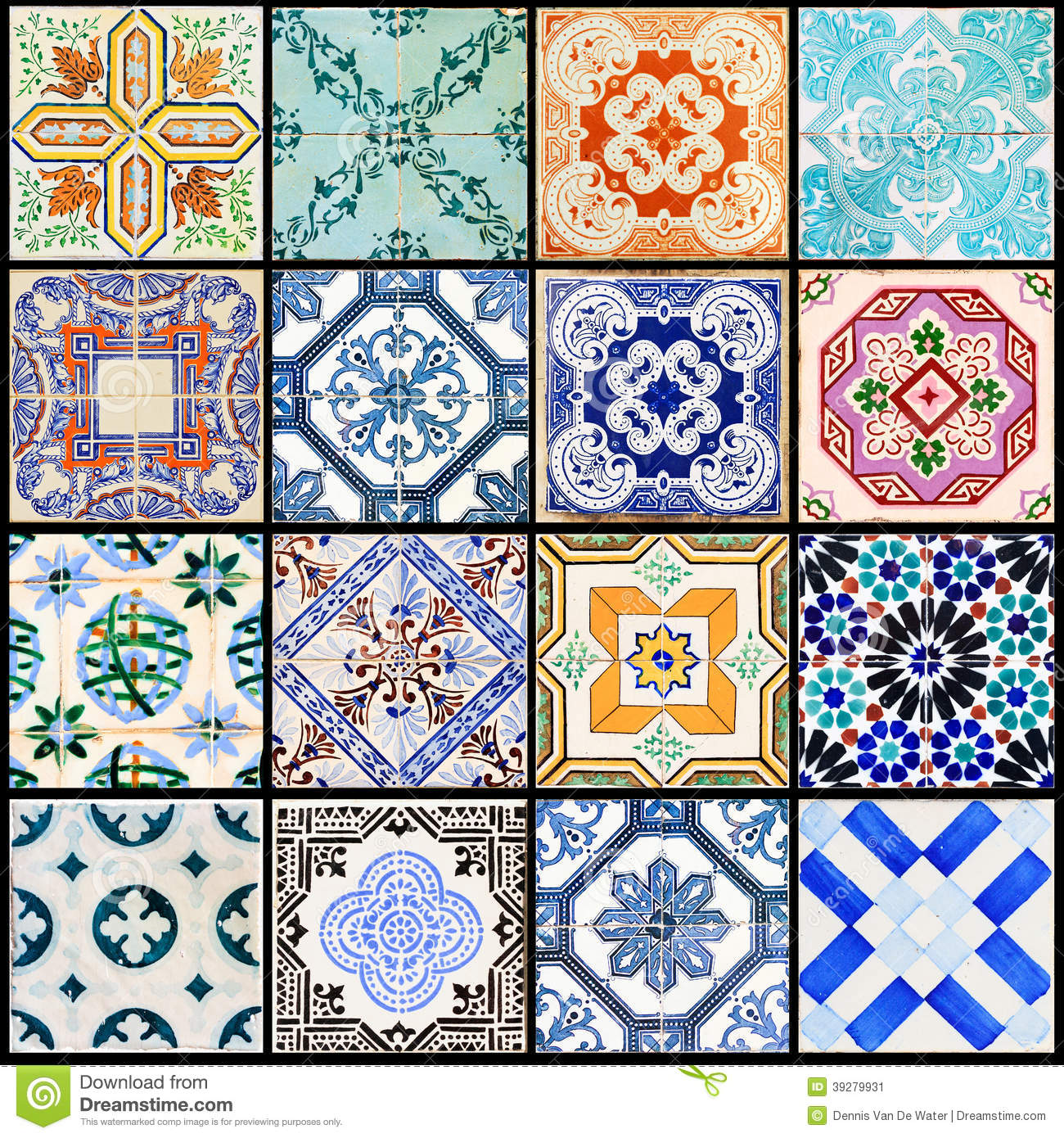 Lisbon tiles collage black stock image. Image of decoration - 39279931