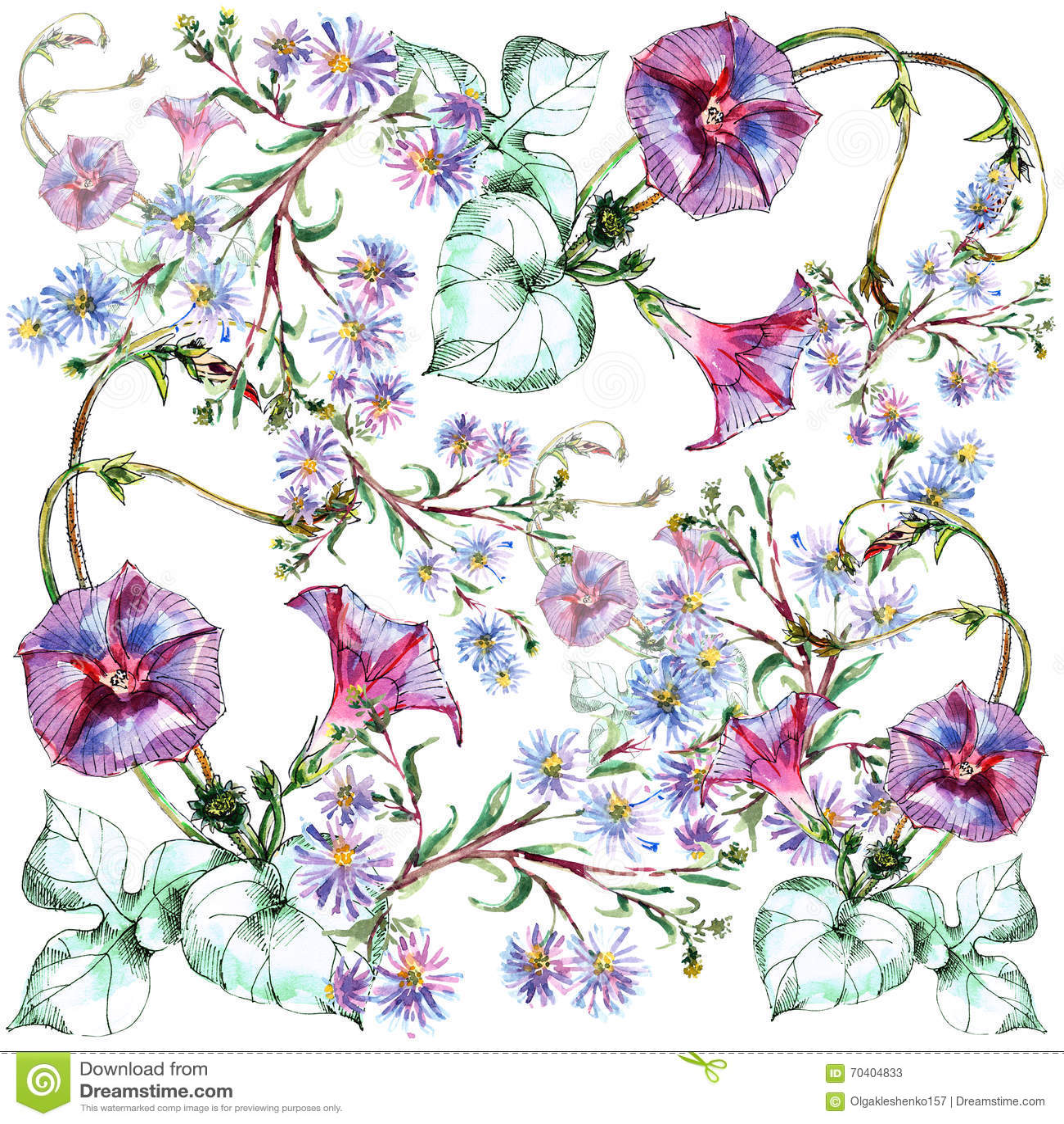 liseron bouquet bleu de fleur aquarelle mod le illustration stock illustration 70404833. Black Bedroom Furniture Sets. Home Design Ideas