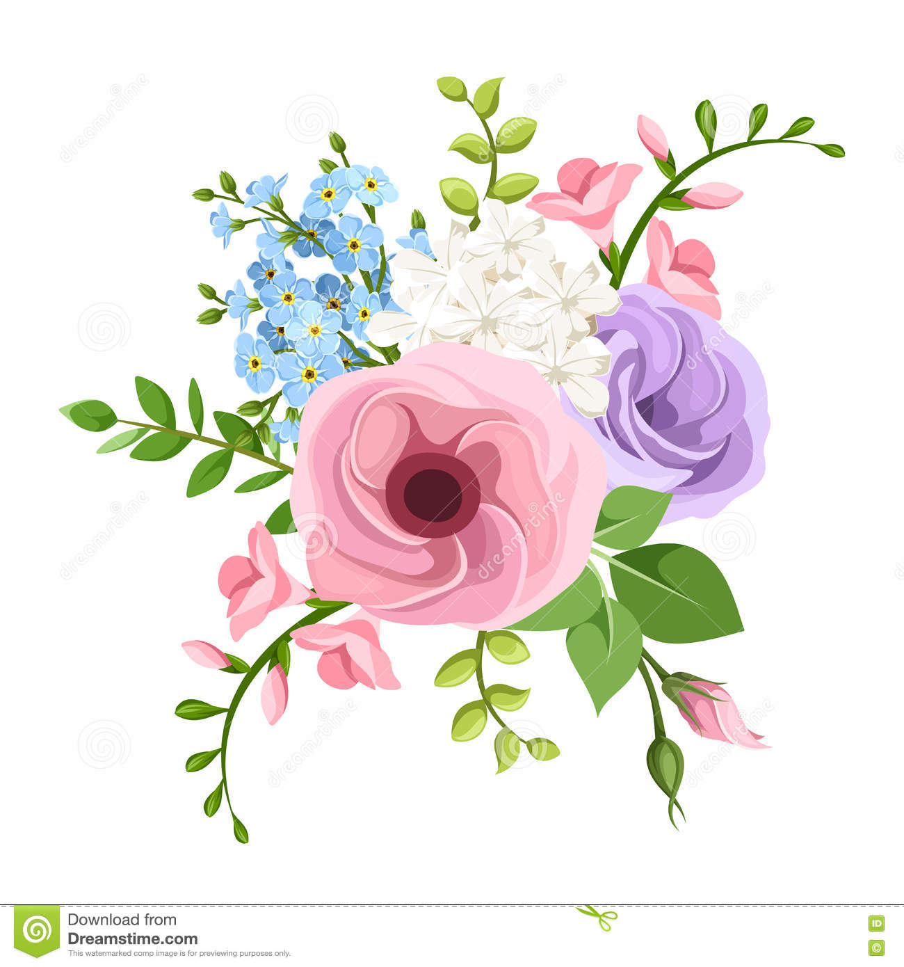 Lisianthus Freesia And Forget Me Not Flowers Bouquet Vector
