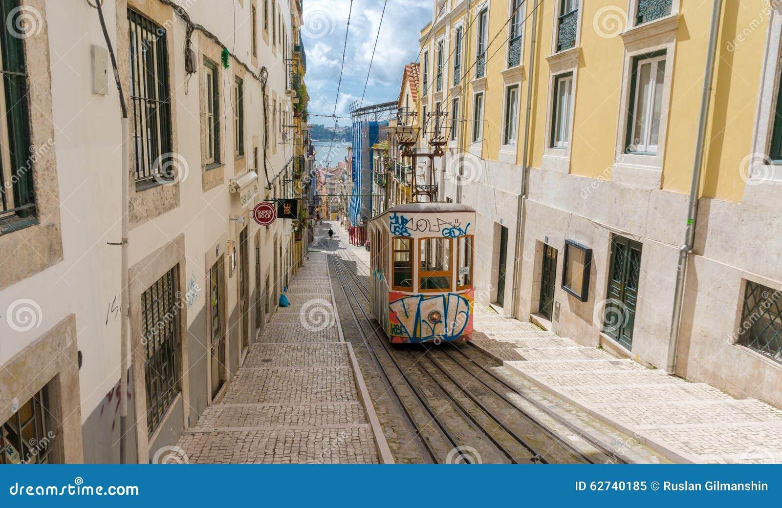 Lissabons Gloria bergbana hemlig i Bairro Alto Lisbon, Portugal
