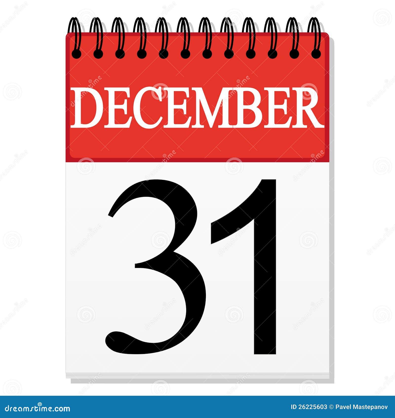 List Calendar December 31 Stock Photos - Image: 26225603