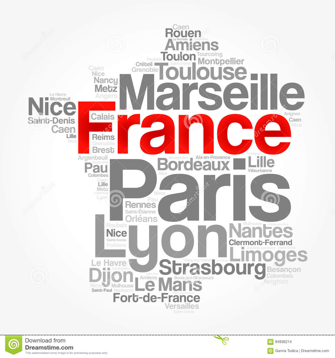 Map Of France Cities And Towns.List Of Cities And Towns In France Stock Illustration Illustration