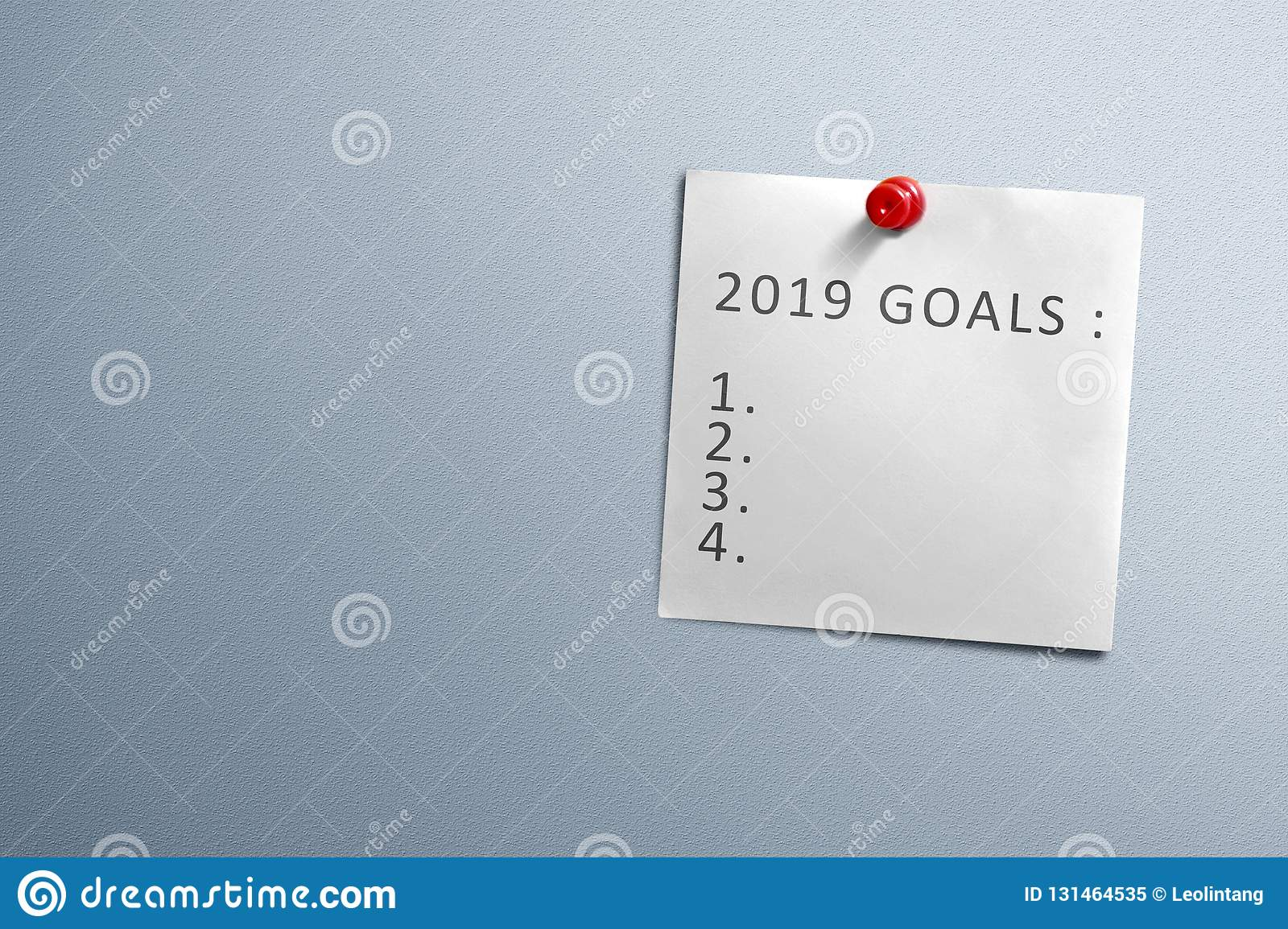 List For 2019 Goals In Note Paper Hanging With Pin On The Wall Stock Image  - Image of winter, number: 131464535