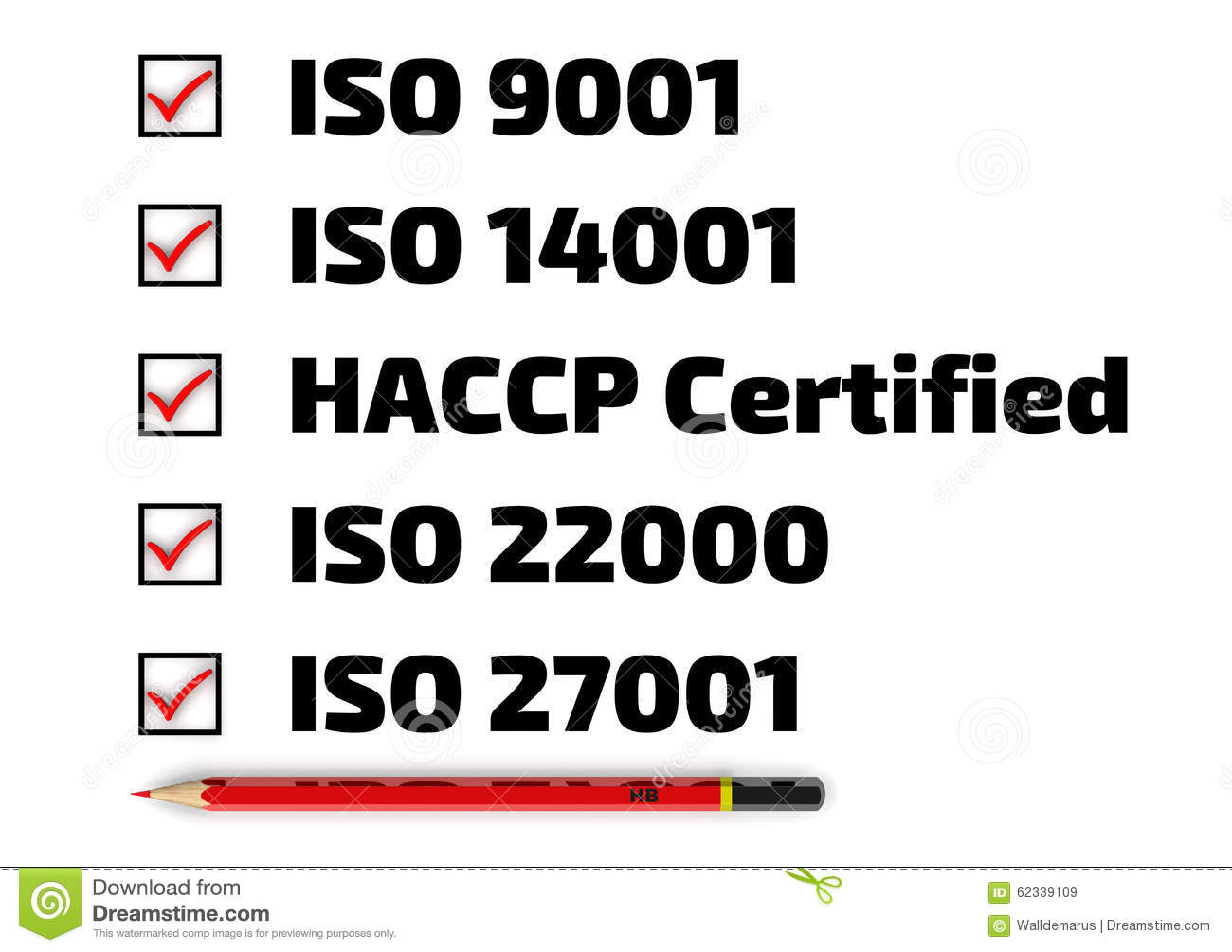 list-iso-standards-haccp-red-pencil-chec