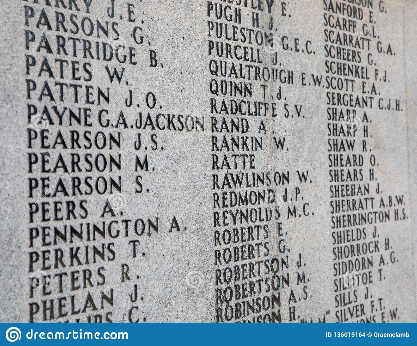 A List Of Names On A War Memorial For The First World War Stock