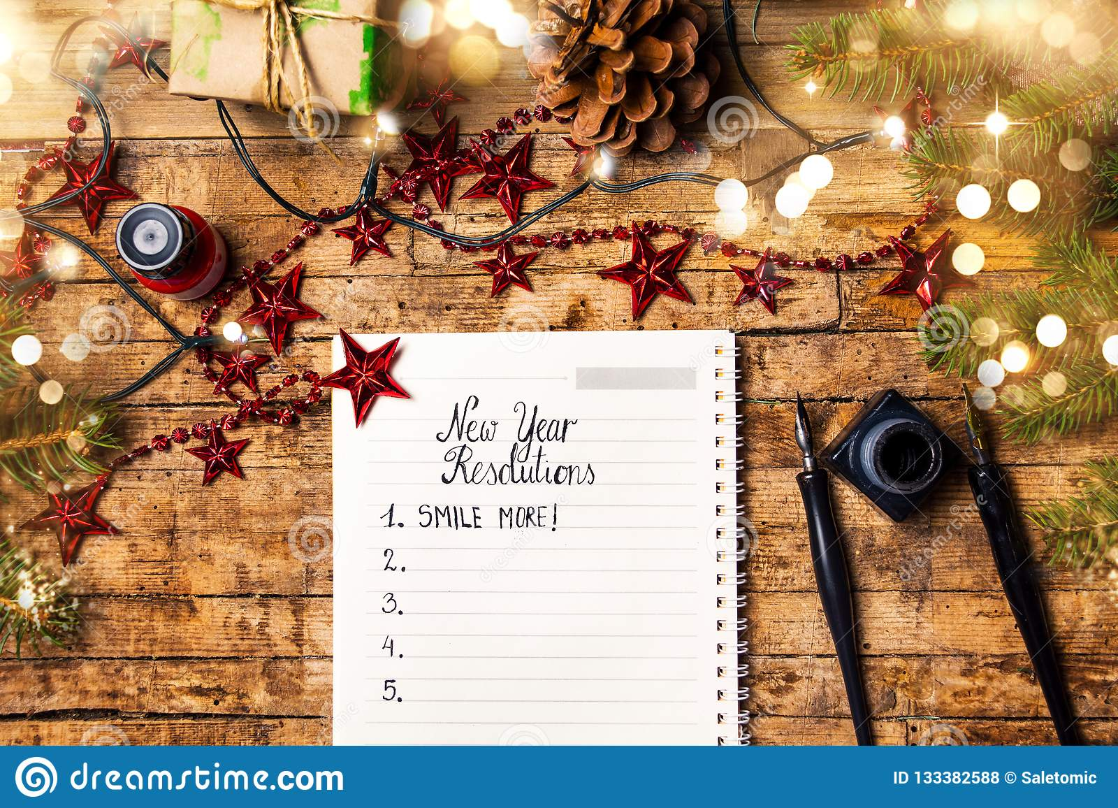 List Of New Year Resolutions With Festive Winter ...
