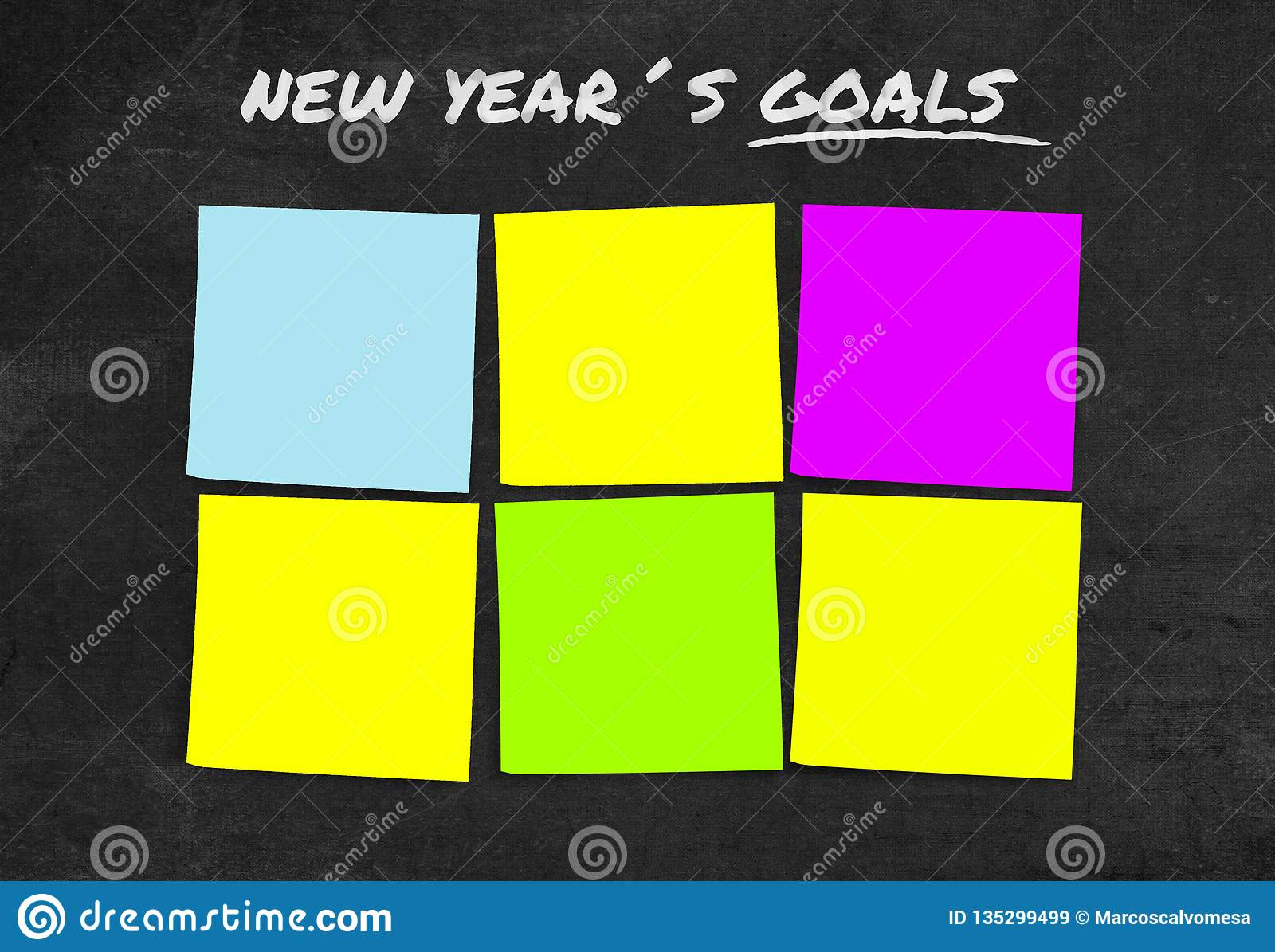 List of New Year resolutions and goals in sticky notes blank with copy space for adding text in commitment determination and