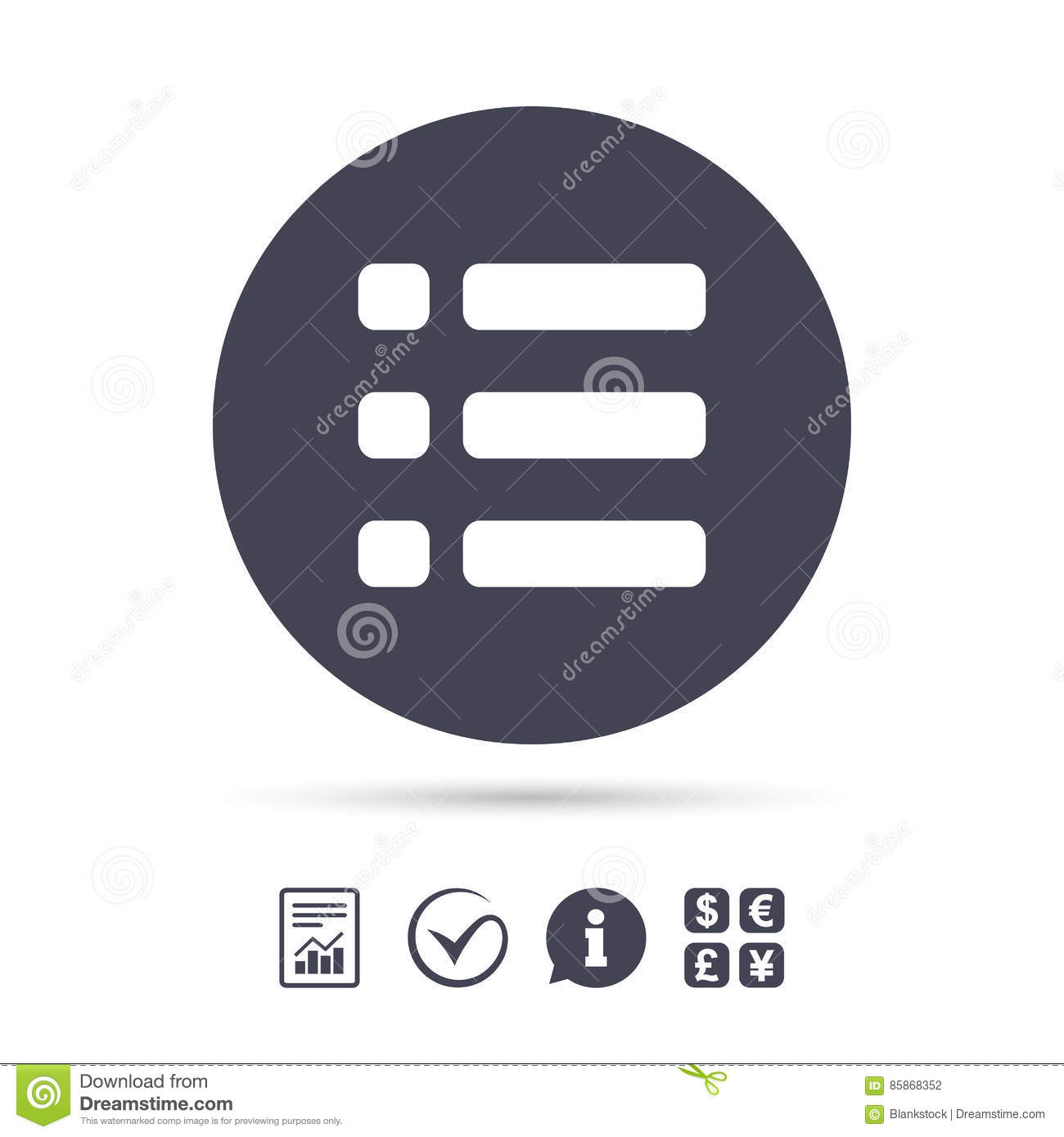 List Sign Icon Content View Option Symbol Stock Vector
