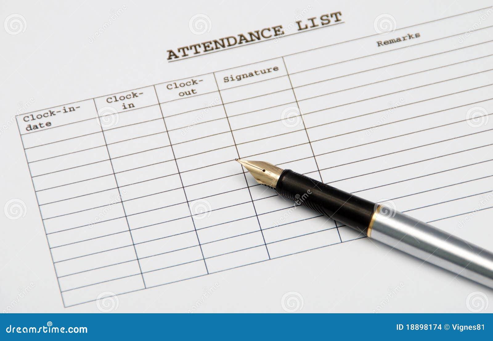 Lista de comparecimento