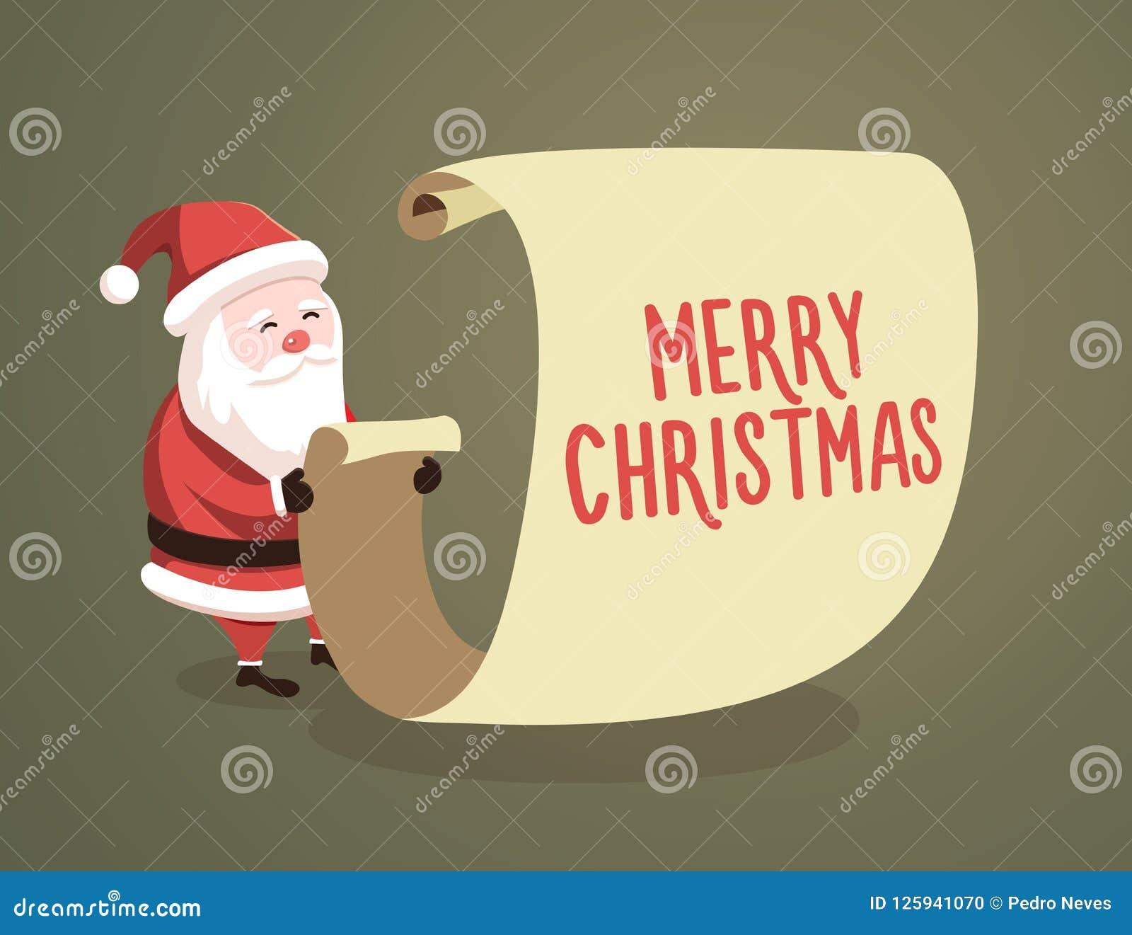 035a3217d Lista de comprobación de Santa Claus con el mensaje de la Feliz Navidad  Ilustración del vector