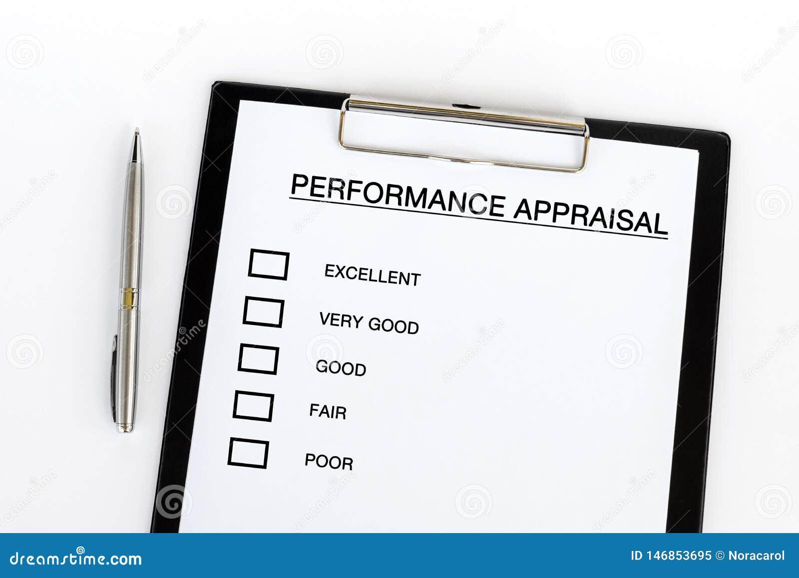 Lista de control de la valoración del rendimiento