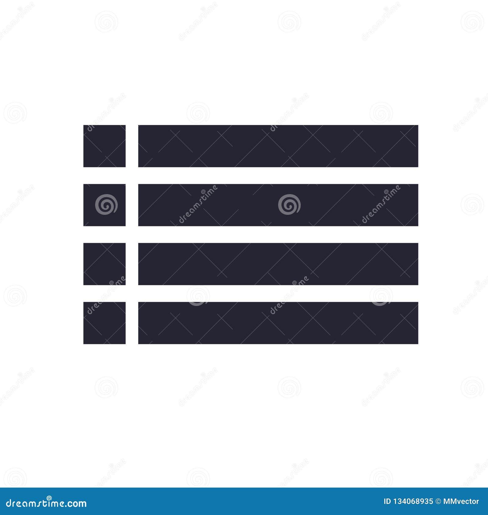 Lista det symbolsvektortecknet och symbolet som isoleras på vit bakgrund, listalogobegrepp
