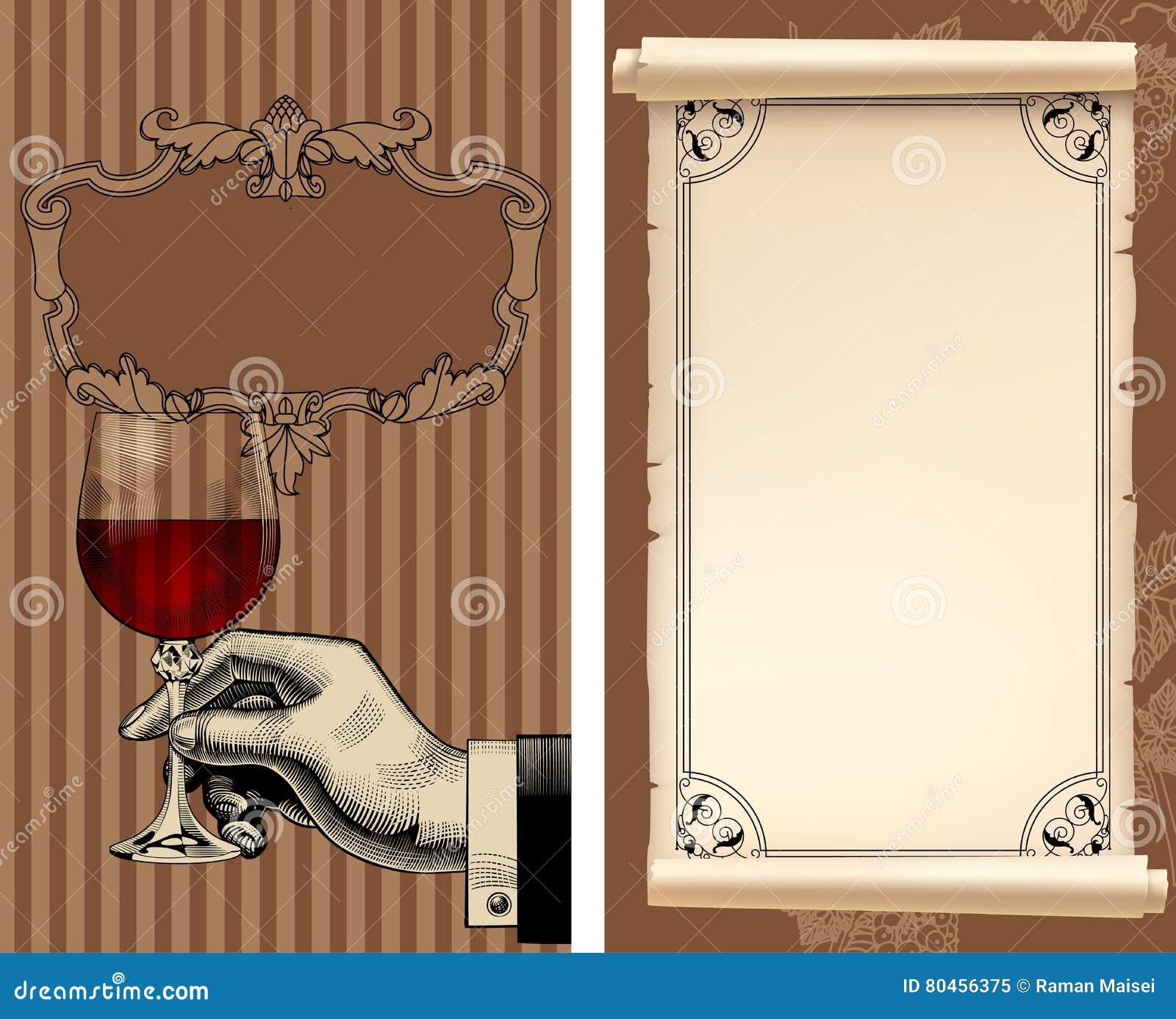 Lista Di Vino Con La Mano Che Tiene Un Bicchiere Di Vino E Una