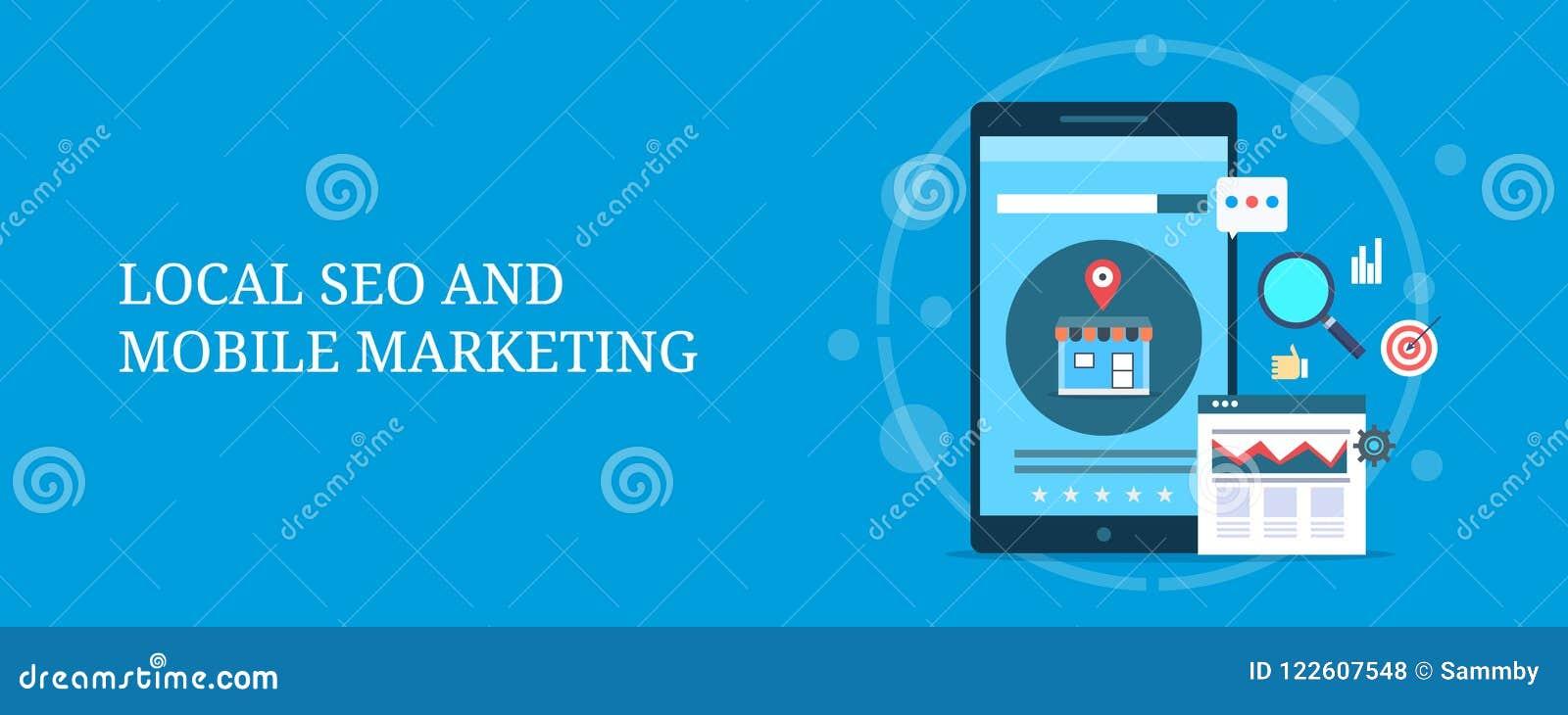 Lista local do mapa do seo para o móbil, otimização da loja do comércio eletrônico para o conceito local da busca Bandeira lisa d