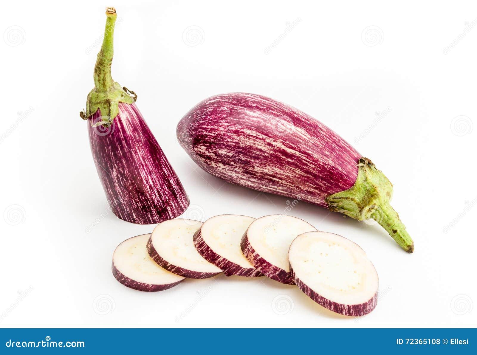 Listada de甘迪亚有机茄子,与镶边皮肤