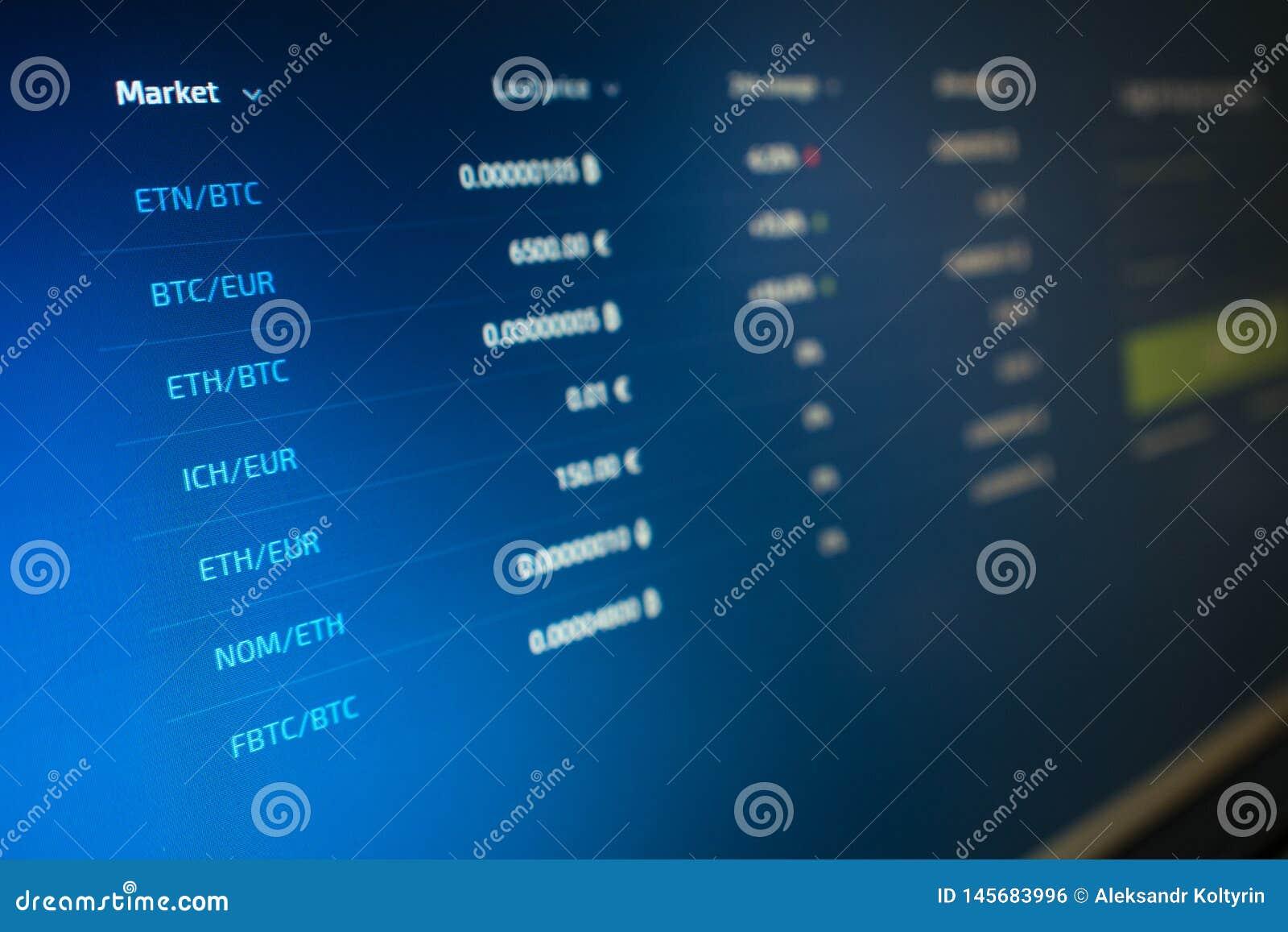 Liste de citations de cryptocurrency sur l écran d ordinateur Échanges de Cryptocurrency