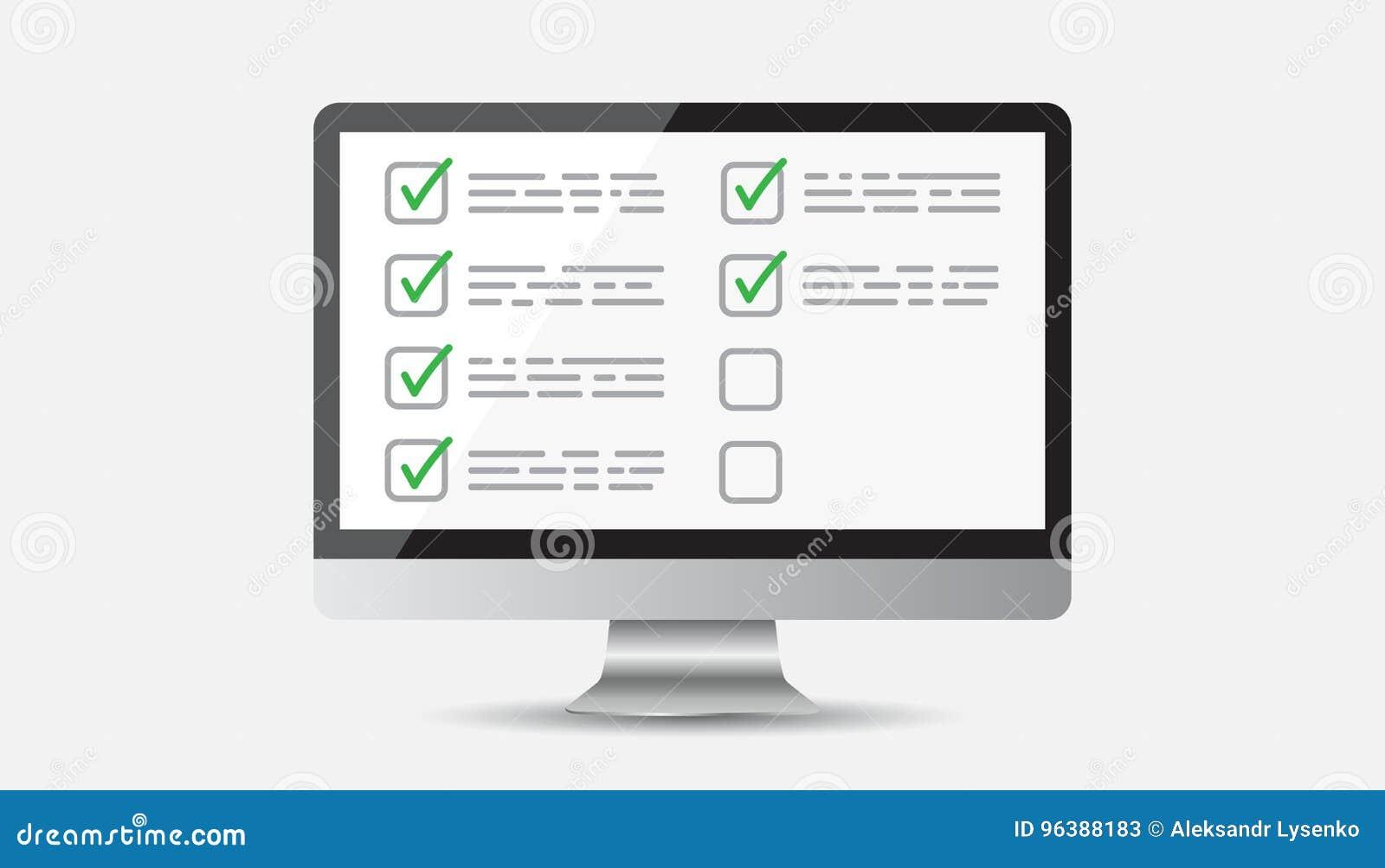 Liste de contrôle d homme d affaires avec l ordinateur Vecteur plat d icône de liste de contrôle