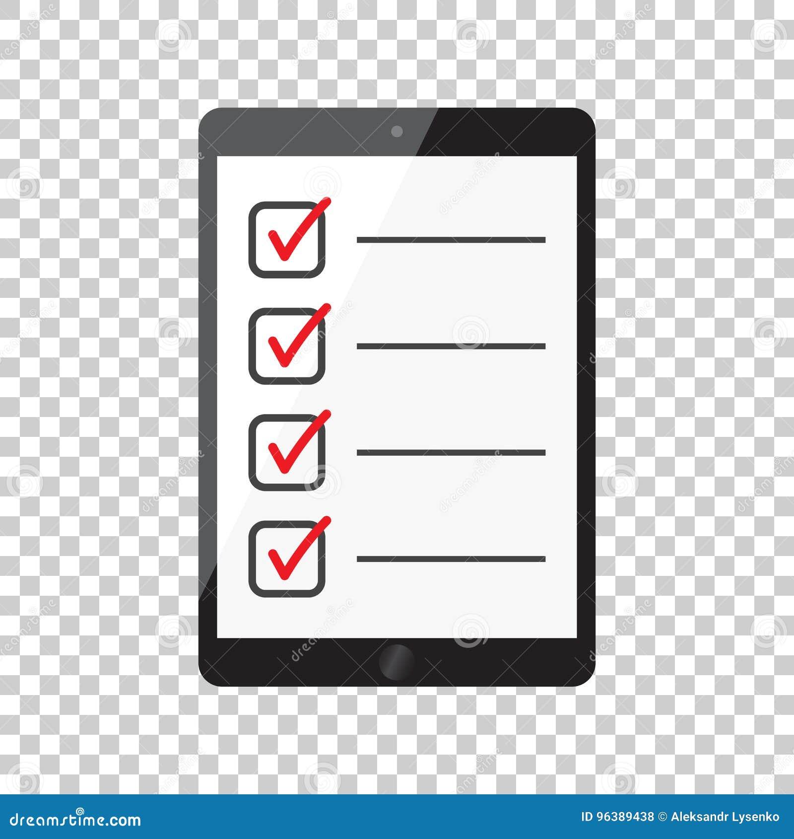 Liste de contrôle d homme d affaires avec le comprimé Vecteur plat i d icône de liste de contrôle