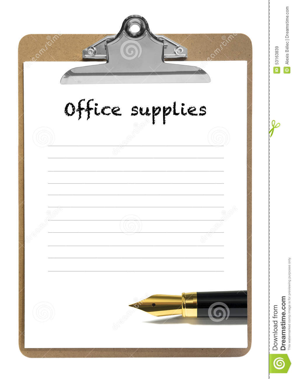 Liste de fourniture de bureau photo stock image 53163839 for Achat fourniture de bureau