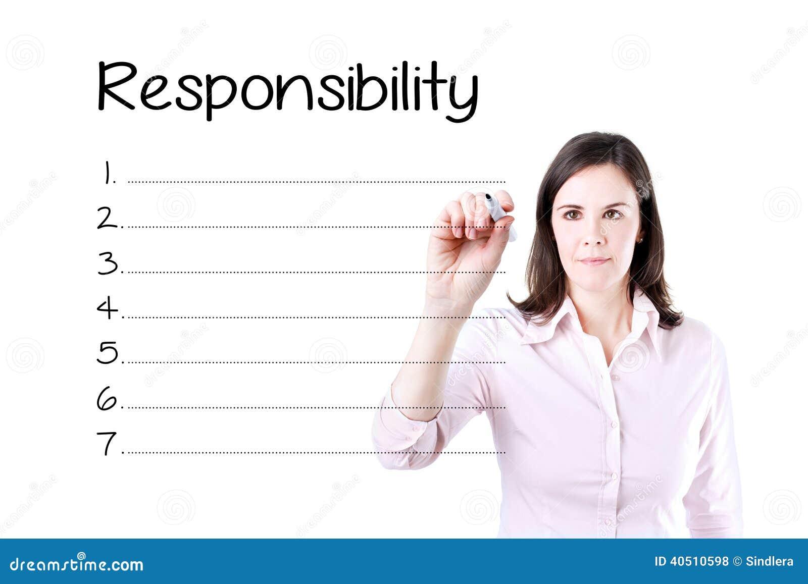 Liste de responsabilité d écriture de femme d affaires en blanc D isolement sur le blanc