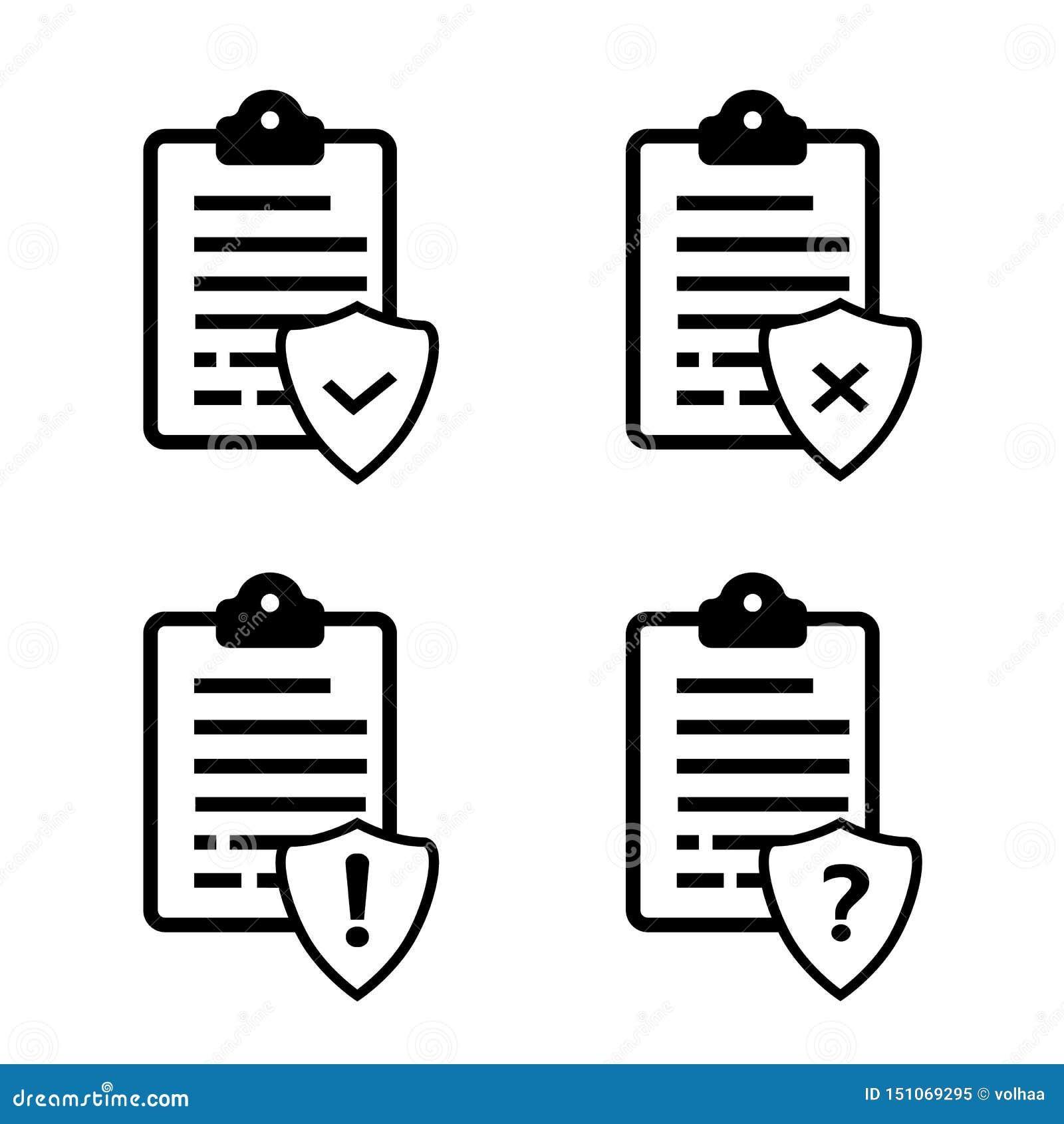 Liste o icone di vettore di protocolli