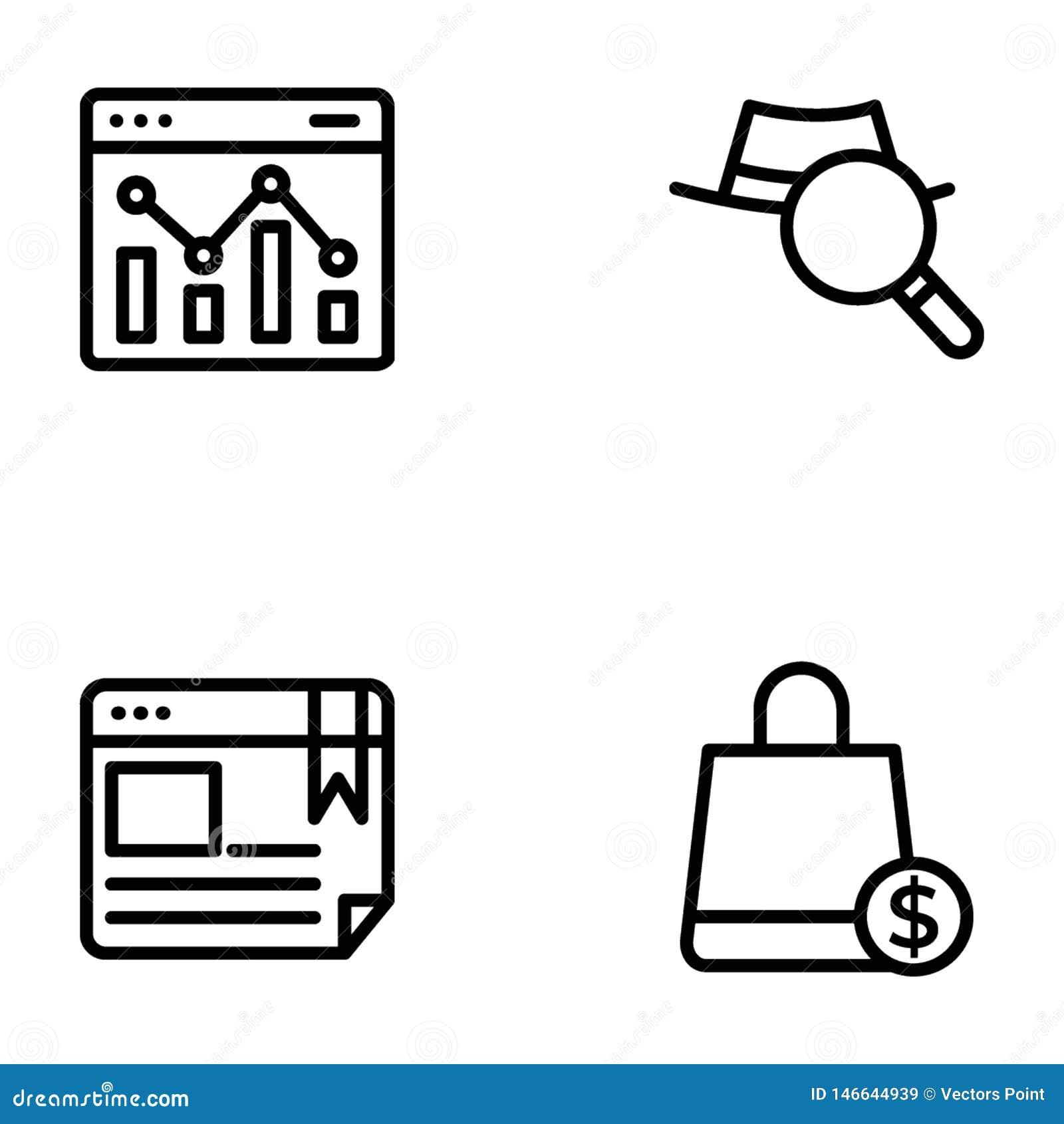 Liste von Seo und Netz-Linie Vektoren verpacken