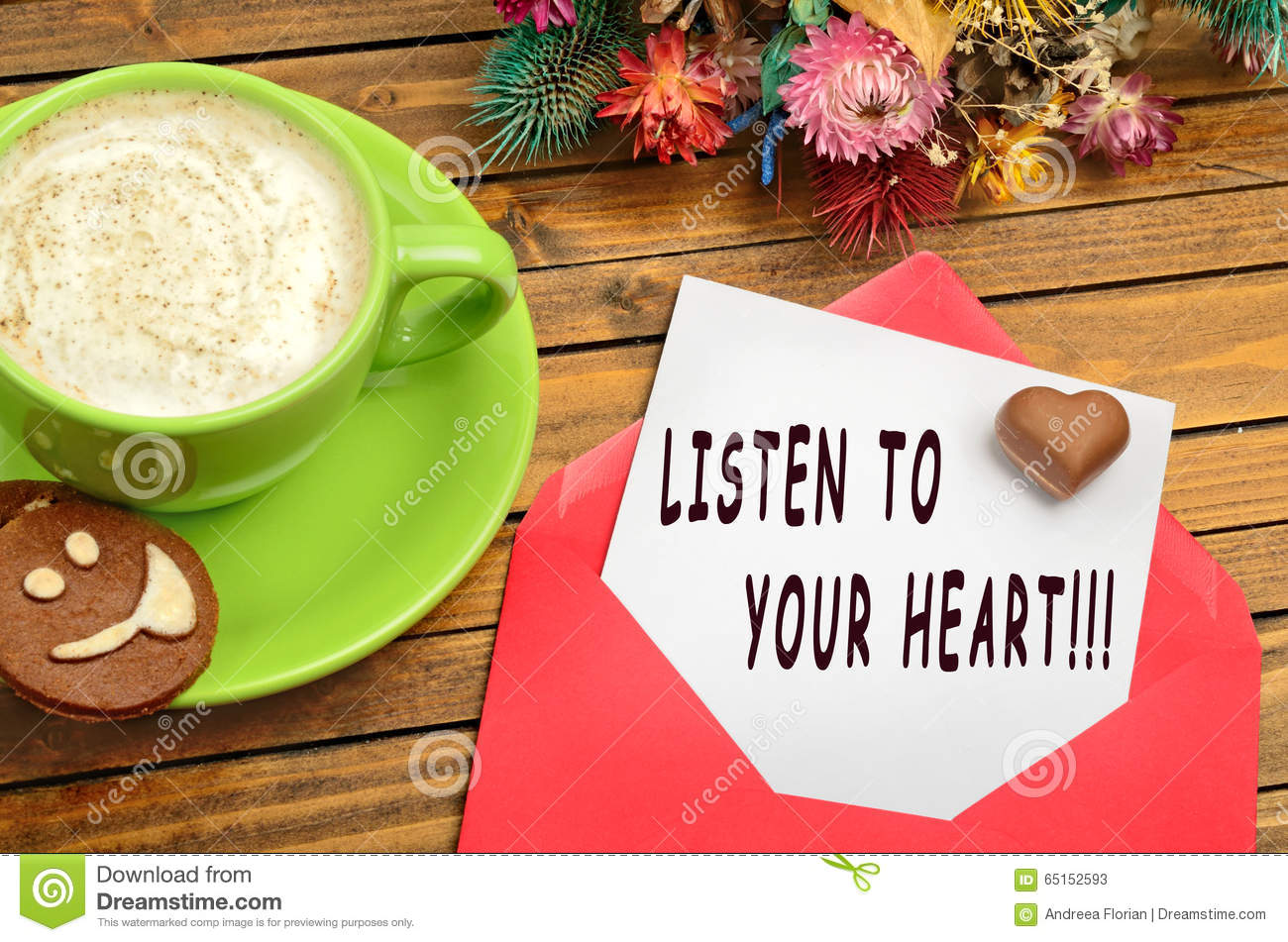 Listen To Your Heart Quotes Stock Image Image Of Colorful