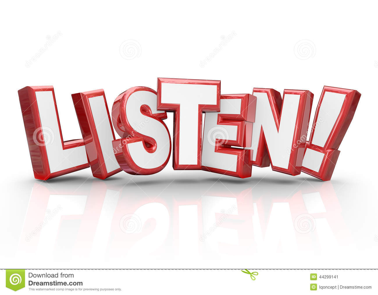 listen word 3d red letters pay attention important information stock