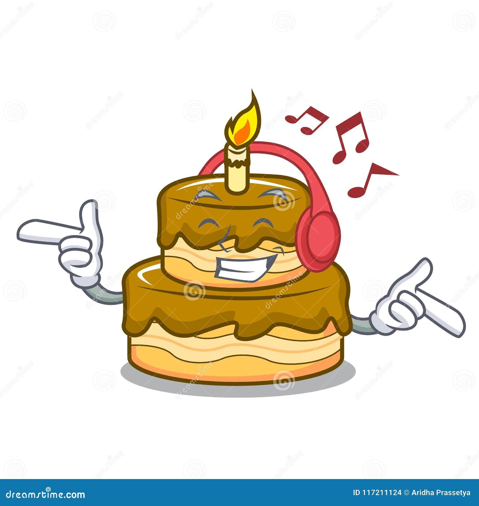 Terrific Listening Music Birthday Cake Mascot Cartoon Stock Vector Funny Birthday Cards Online Alyptdamsfinfo