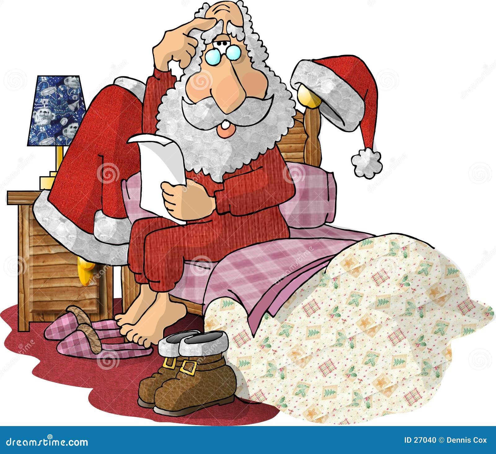 Listes de cadeau du relevé de Santa dans des ses pyjamas