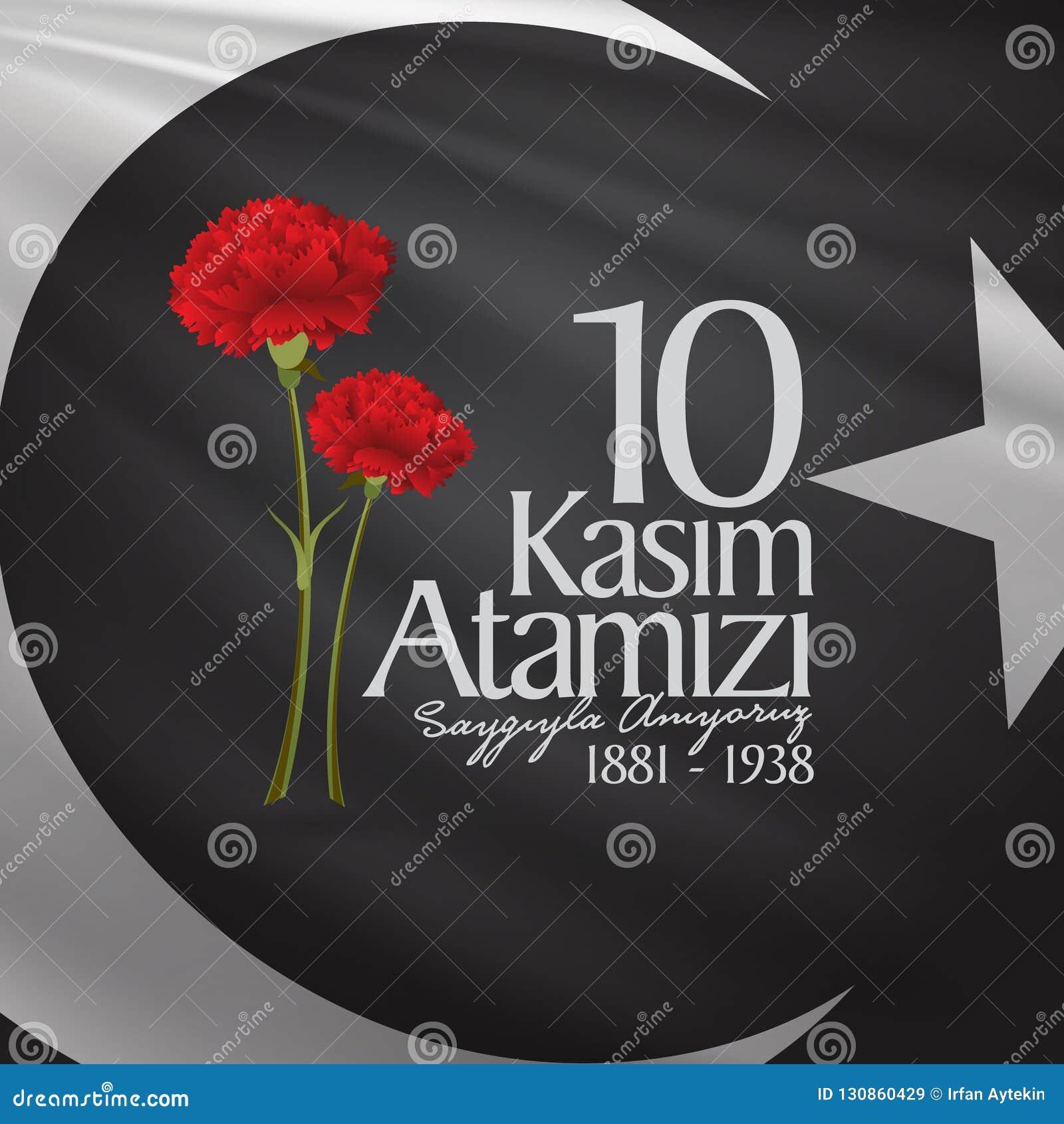 10 Listopad, Mustafa Kemal Ataturk dnia Śmiertelna rocznica Dzień pamięci Ataturk Billboarda projekt