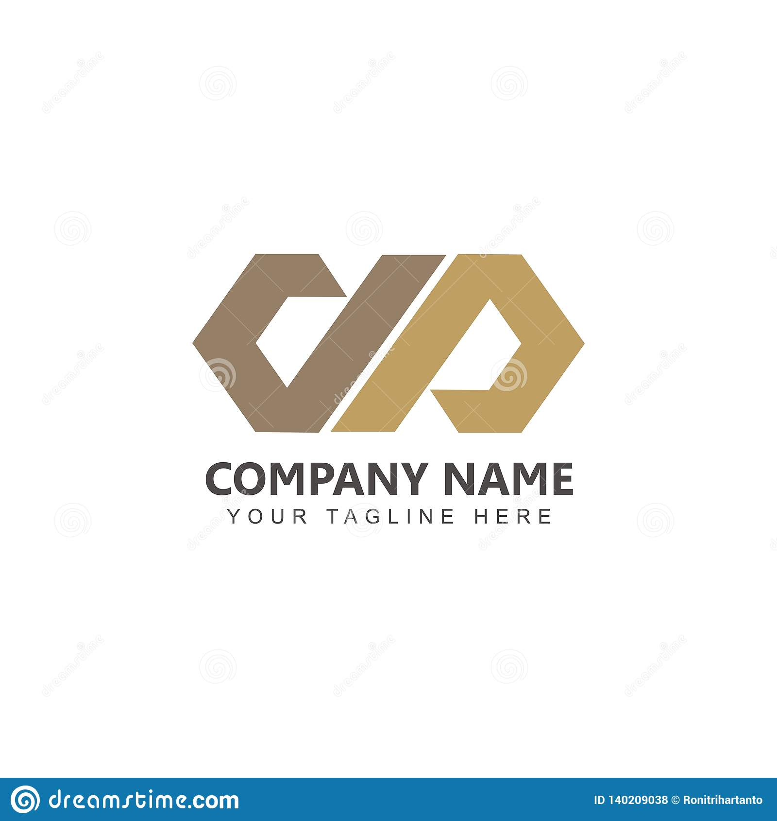Listowy DP logo projekta inspiracji wektor z złocistym kolorem
