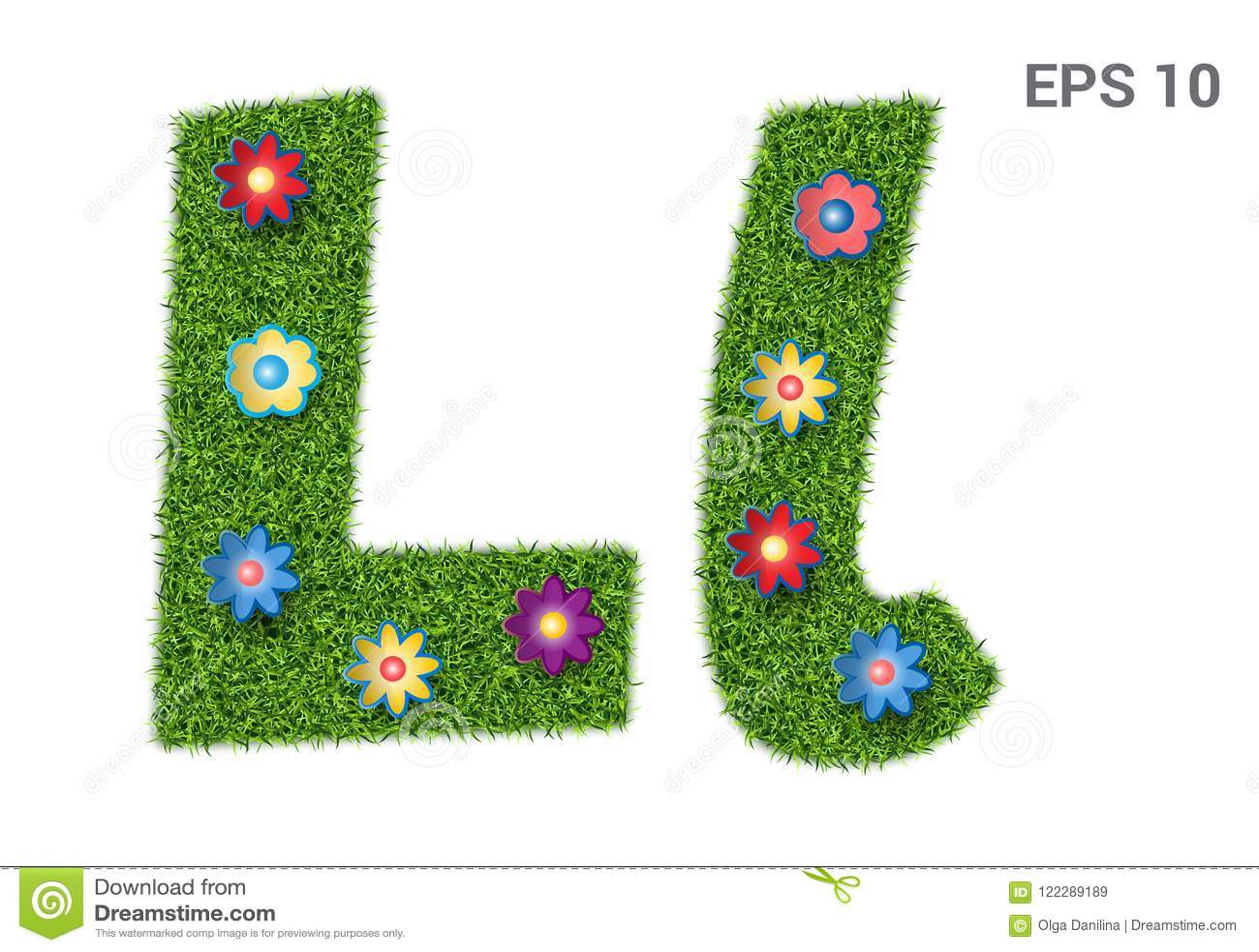 Listowy Ll z teksturą trawa i kwiaty