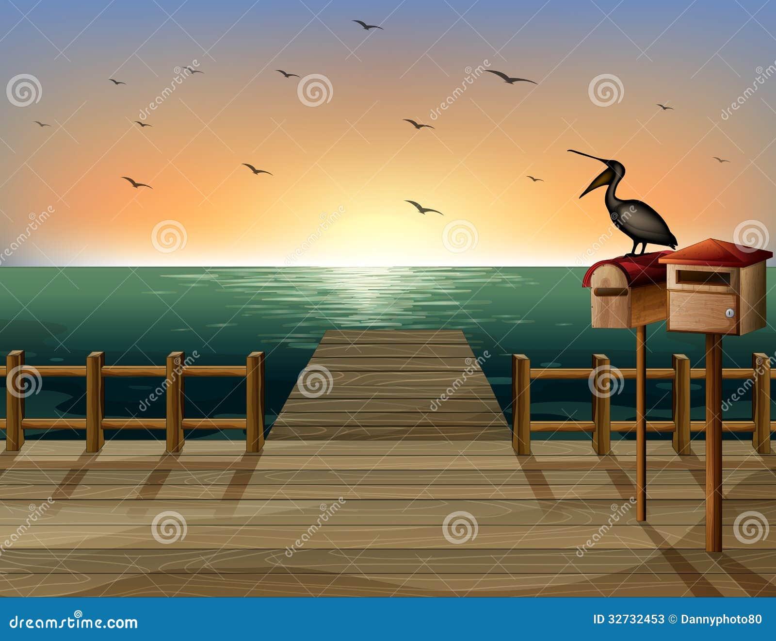 Listowy pudełko i port morski