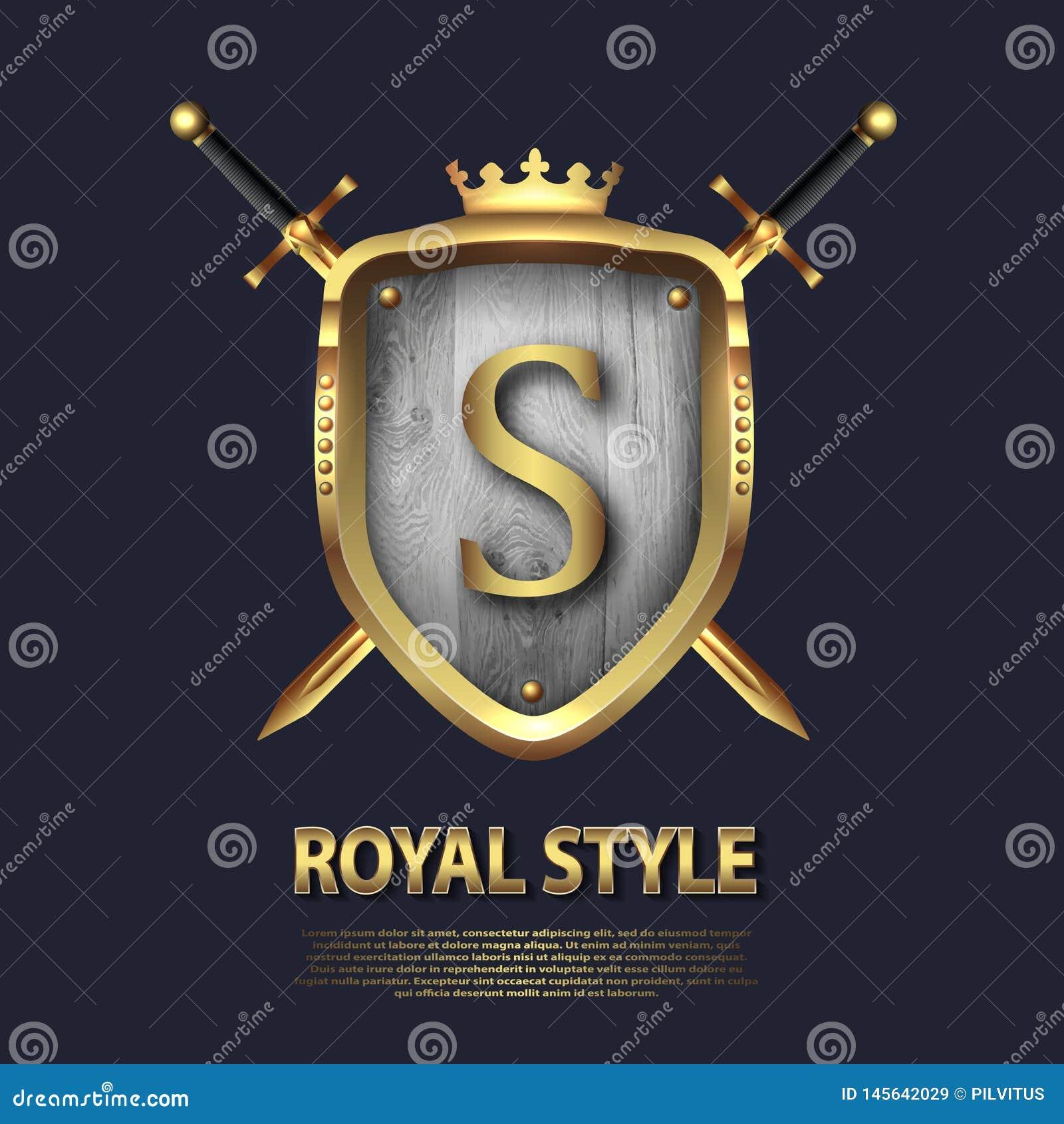 Listowy S, dwa krzyżującej osłony z koroną i kordziki i Listowy projekt w z?ocistym kolorze dla u?ywa jako heraldyczny symbol w?a